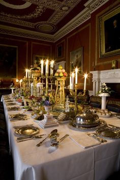 The National Trust has recently recreated the night-time ambiance of the Regency-period dining room at Attingham Park, Shropshire, as shown above. The latest in lightbulb technology was used to simulate candlelight, and the table has been laid with the original silver plates and gilded candelabra and centrepieces, which look splendidly festive in the semi-gloom.