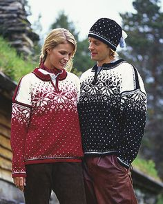 Dale of Norway ski sweaters. Norwegian Style, Ski Sweater, Scandinavian Fashion, Knitting Magazine, Fair Isle Knitting, Sweater Knitting Patterns, Sweater Design, Sweaters For Women, Men's Sweaters