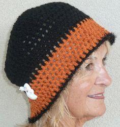 Halloween Hat Black Orange Team Woman Winter by hatsbyanne1942, $33.00