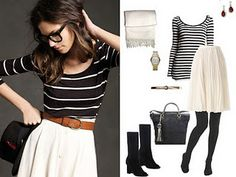 Striped tee, white skirt, new favorite outfit.