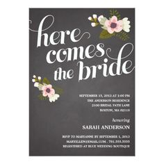 Bridal Shower Chalkboard Invitations HERE COMES THE BRIDE | BRIDAL SHOWER INVITATION