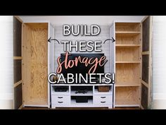 This is an easy way to make storage cabinets! These diy wood cabinets are tall BUT is very simple to build! These Wood Storage Cabinets have doors, whi. Craft Storage Cabinets, Storage Cabinet With Drawers, Diy Drawers, Diy Cabinets, Kitchen Drawers, Kitchen Pantry, Kitchen Storage, Kitchen Cabinets, Shop Storage