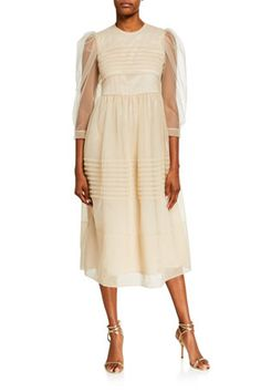 B5E90 Simone Rocha Pleated Tulle Puff-Sleeve Dress Dresses With Sleeves, Dresses For Work, British Fashion Awards, Neiman Marcus, Young Designers, British Style, Dressmaking, Fit And Flare, Luxury Fashion