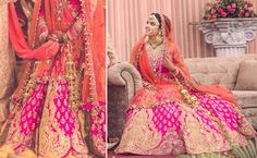 A bright Pink Lehenga with heavy Gold embroidery paired with a coral dupatta by Rimple and Harpreet Narula for Bride Amreen of WeddingSutra. Photos Courtesy- Cupcake Productions #WeddingSutraPZW