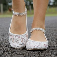 lace bridal flat ankle strap big bow - Google Search