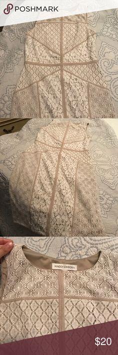 Maggy London dress. Size 8. Worn once. Cream colored dress with lace detail. Worn once. Maggy London Dresses Midi