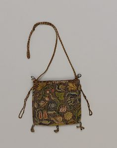 Purse Date: first quarter 17th century Culture: British Medium: Canvas embroidered with silk, silver, and silver-gilt thread Accession Number: 64.101.1263
