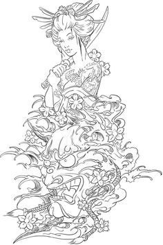 Geisha and Hannya Tattoo Design by on DeviantArt Japanese Tattoo Art, Japanese Tattoo Designs, Japanese Sleeve Tattoos, Japanese Art, Japanese Dragon, Hannya Maske Tattoo, Oni Mask Tattoo, Demon Tattoo, Geisha Tattoo Design