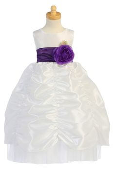 White Shirred Pick up Skirt Taffeta Blossom Flower Girl Gown (BL216)  http://rachelspromise.net/collections/flower-girl-dresses/products/bl216-shirred-skirt-taffeta-blossom-flower-girl-gown?variant=1747623171