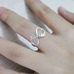 Sterling Silver 925 Carrie Style Infinity Name Ring 6641a11ea696