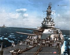 Battleship USS Iowa (BB-61) in late December 1943 to early January 1944. (Rare Color)