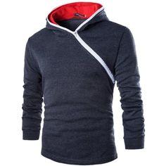 Partiss Mens Unbalanced Zipper Pure Color Hoodie,Chinese XL,Dark gray