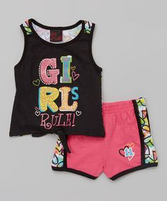 Look at this #zulilyfind! Girls Rule Black 'Girls Rule' Heart Tank & Pink Shorts - Toddler & Girls by Girls Rule #zulilyfinds