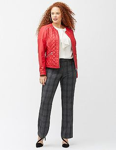 Modern moto jacket tops it all with chic, diamond-quilted faux leather. The sleek, collarless cut and contoured seaming streamline the fit to flatter curves, coming together with zip-front closure and zipped pockets and cuffs. Fully lined. lanebryant.com