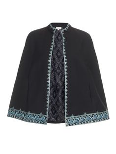 Talitha Embroidered wool-blend cape