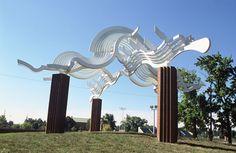 Ottawa Gate (at Ottawa Park, Toledo) by Robert Fessler, John Squire & David Black, Ohio  1994  Aluminum & Brick