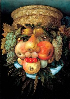 A 16th century portrait in fruit and vegetables by Arcimboldo - still amazes me how modern this is for the 16th century.