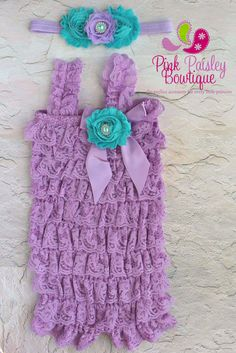 Lace Petti Romper- Baby Rompers - Vintage Clothing - Lavendar Lace Romper - Petti Lace Ruffle Romper. 1st Birthday Outfit - Cake Smash