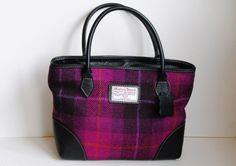 Easdale Harris Tweed handbag in cerise tartan with leather trim