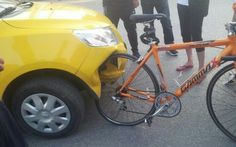 Bicycler hit the car and damage it