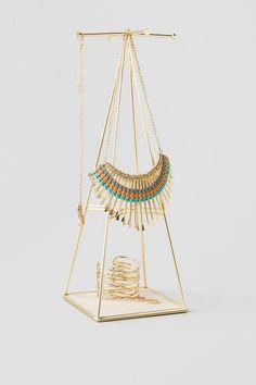Gold Prisma Jewelry Stand