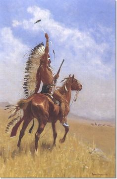 Image detail for -... Remington - Indian in Headdress by Frederic Remington | Painting