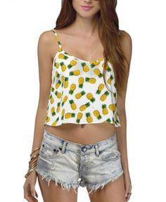 White Pineapple Print Cami Crop Top