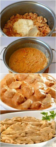 QUER UMA RECEITA DELICIOSA PARA SEU ALMOÇO?(estrogonofe de frango) veja aqui>>>Em uma panela aqueça o óleo em fogo médio e refogue a cebola e o frango por cinco minutos ou até dourar. 2.Junte o extrato de tomate, o caldo de galinha e o leite e deixe ferver por um minuto. #receita#bolo#torta#doce#sobremesa#aniversario#pudim#mousse#pave#Cheesecake#chocolate#confeitaria#