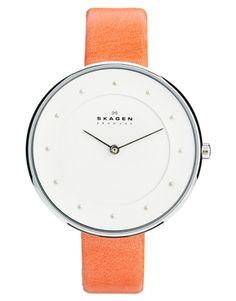 Skagen Klassik Pink Leather Strap Watch