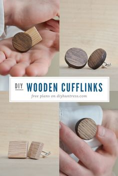 How to make easy wooden cufflinks. Great for weddings and parties!