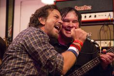 Eddie Vedder with The Sonics at Easy Street Records, on Record Store Day 2015.