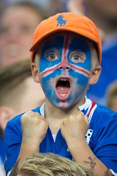 #EURO2016 A young Iceland fan celebrates his side's opening goal during the UEFA Euro 2016 Quarterfinal match between France and Iceland at on July 03 in Paris...