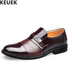 Size 37-46 Casual Men Flats Spring Autumn Dress Business Slip-On leather shoe Male Brogue Shoes Oxfords Men wedding shoes 03A #Affiliate