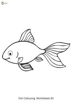 Free Downloadable Fish Worksheets for kids. Fish Coloring Page, Colouring Pages, Coloring Pages For Kids, Coloring Sheets, Preschool Worksheets, Preschool Ideas, Drawing For Kids, Our Kids, Child Development