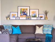 Sofa Shelf, Shelf Above Bed, Sofa Layout, Gallery Wall Layout, Gallery Walls, Picture Shelves, Picture Ledge, Wall Shelf Decor, Living Room Pictures