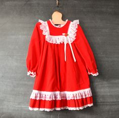 Vintage Holiday Girls Christmas Dress Red Velvet with Lace Size 5 by drowsySwords on Etsy