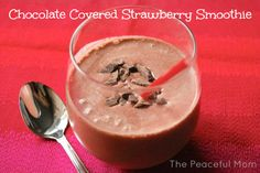 Make this Valentine's Day Chocolate Covered Strawberry Smoothie for your honey! Oh yes! --from ThePeacefulMom.com