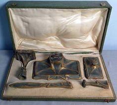 Art Nouveau - Ensemble de Bureau - Bronze et Bronze Doré - Vers 1900