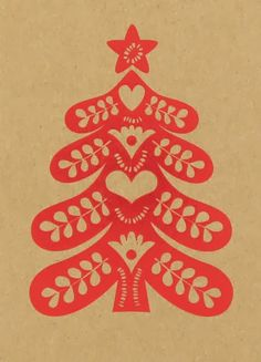 Scandi Tree design/motif ----------------------- Merry & Bright red Christmas tree kraft card at Paperchase Noel Christmas, Scandinavian Christmas, Homemade Christmas, Christmas Crafts, Paper Cutting, Christmas Graphics, Christmas Illustration, Grafik Design, Paper Cards