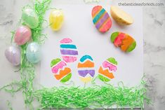 Easter Craft Activity for Kids - Stamping Easter Eggs