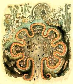 Pan-Mesoamerican Beliefs About the Origins of People on Earth: A Chichemec version of Chicomoztoc, drawn ca 1550