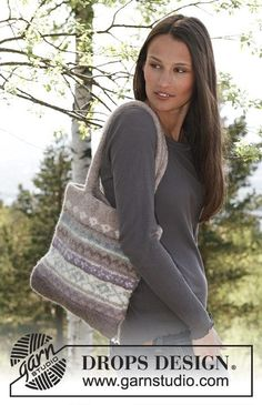 "Ulrika Bag - Felted DROPS bag with pattern borders in ""Eskimo"". - Free pattern by DROPS Design Knitting Patterns Free, Knit Patterns, Free Knitting, Free Pattern, Drops Design, Magazine Drops, Crochet Diagram, Work Tops, Knitting Accessories"