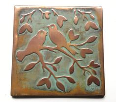 GREEN or BROWN PATINATED COPPER TILE BIRDS SIZE 20cmx20cm 7.87X7.87 Ready to post within 5 working days. We use National Post priority trackable service. It takes 3-5 working days for delivery in EU countries and 10-20 working days to USA and Canada. TECHNICAL INFORMATION ABOUT MY COPPER TILES : Every copper tile we make is handcrafted from raw copper thickness 0.57mm ( .020) the same as for roof use. Its very hard, strong and durable. Do they install like regular tile? Yes they do. Thin...