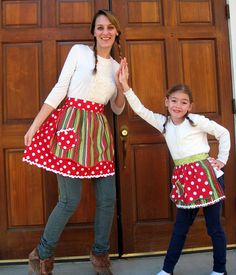Love it! Christmas Mother Daughter Matching Half Apron Set by Aprons2tie4, $33.00