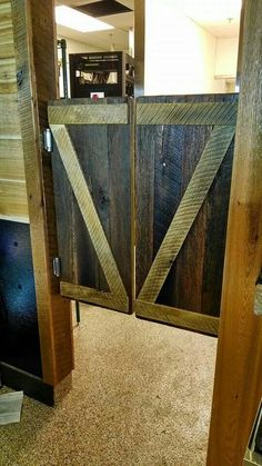 Swinging saloon doors and door casing we made for a doorway at the new Johnny's Tavern on SMParkway.