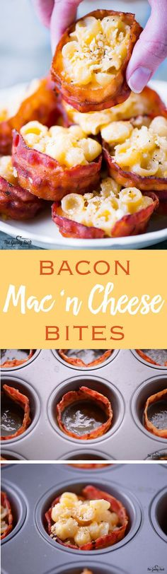 This Bacon Mac and Cheese Cups recipe is a cheesy appetizer that everyone will love. Try serving it at your next party! This Bacon Mac and Cheese Cups recipe is a cheesy appetizer that everyone will love. Try serving it at your next party! Fingerfood Recipes, Appetizer Recipes, Snack Recipes, Cooking Recipes, Dip Recipes, Cake Recipes, Catering Recipes, Tapas Recipes, Catering Ideas