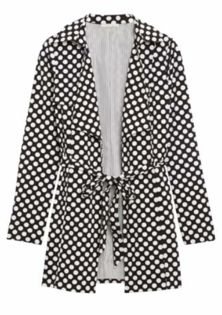 I love this black and white trench coat.  41Hawthorn Austra Polka Dot Trench Jacket.  Available from Stitch Fix.