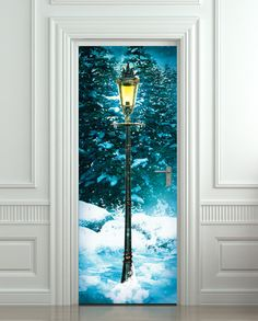 Door STICKER lamp post lamppost winter forest mural door Wallnit, $24.99
