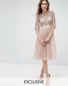 Платье миди с оборками на рукавах и цветочной вышивкой Needle and Thread