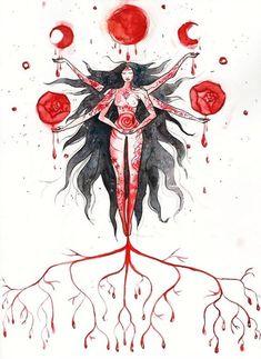 Black Goddess, Goddess Art, Moon Goddess, Blood Art, Blood Moon, Moon Photography, Witch Art, Feminist Art, Creepy Art